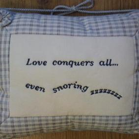 ''Love-Conquers All Even Snoring'' Decorative Cushion