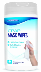Unscented CPAP BiPAP + Oxygen Mask + Equipment Cleaning Wipes - Respura