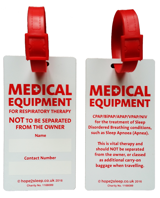picture relating to Medical Equipment Luggage Tag Printable identified as CPAP + Ventilator Bags Tag